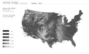 Carte des vents aux USA, Fernanda Viégas and Martin Wattenberg, hint.fm, 2012.