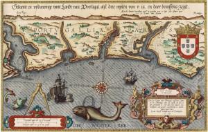 """carte extraite de l'Atlas Maritime de Waghenaer """"Spiegel der Zeevaerdt"""" et gravée par Baptist et Johannes van Deutecom vers 1584"""