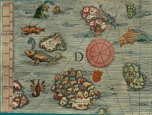 """L'île de Thulé (""""Tile""""), ici placée dans le nord de l'Écosse,  Olaus Magnus, 1539."""